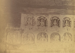 Rock-cut images of Jain Tirthankaras in the Navamuni Gumpha, Khandgiri Hill 1003425c